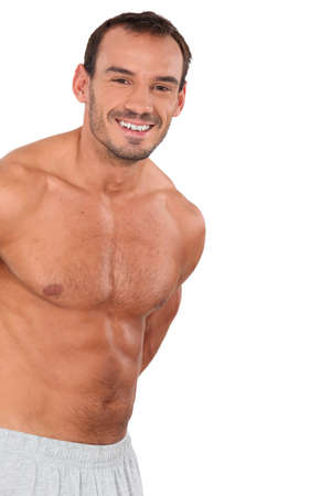 bare chested: muscular bare-chested man