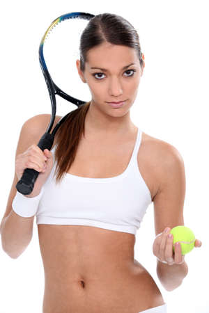 belly button: Young woman ready for tennis