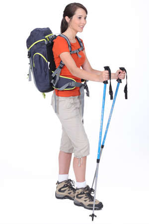 trekking pole: Female backpacker