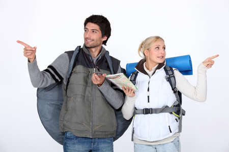 travel guide: Hiking couple lost Stock Photo