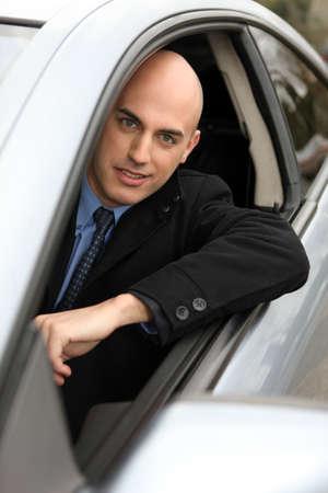 aplomb: Smiling driver Stock Photo