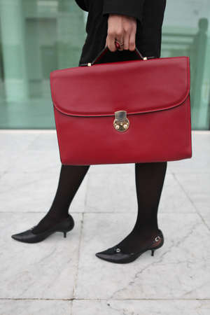 leather briefcase: Red leather briefcase