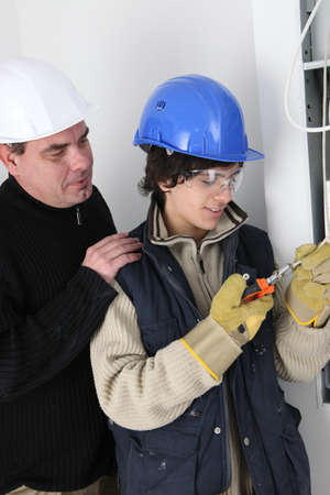 practical: Electrician in training Stock Photo