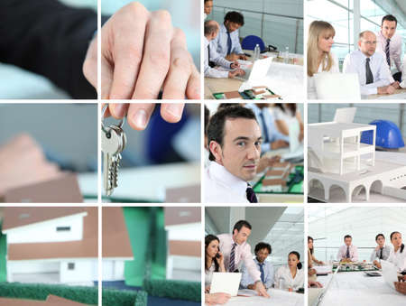 Collage of people working in an architects office photo
