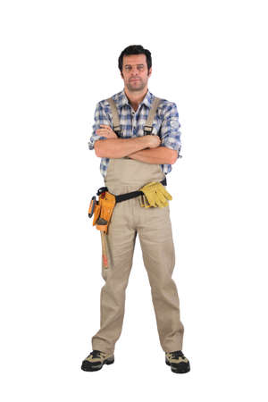 laborers: Serious laborer with arms crossed