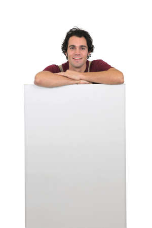 Carpenter with a blank board photo