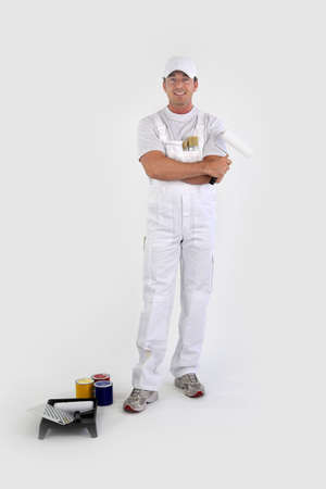 painters: Full-length portrait of a painter with his tools