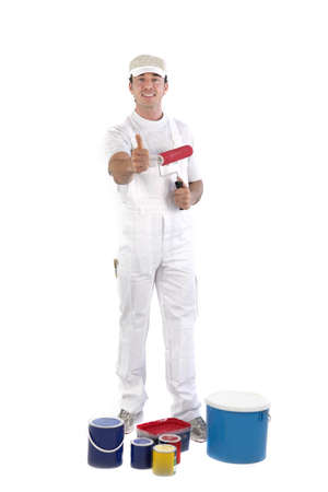 house painter: Thumbs up from a painter Stock Photo