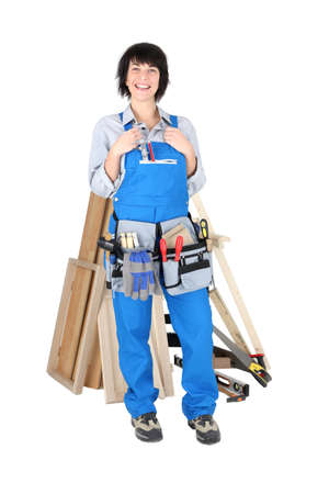 servicewoman: Woman carpenter isolated on white background