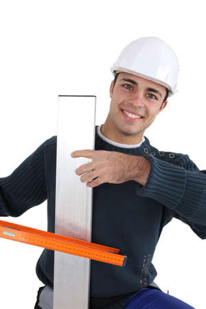 adjusted: Worker with spirit level