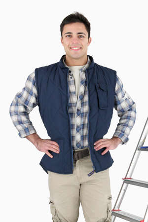 proud tiler posing near ladder and tools Stock Photo - 16037893