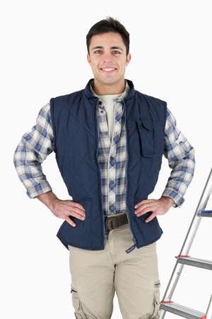 proud tiler posing near ladder and tools Stock Photo - 16037893