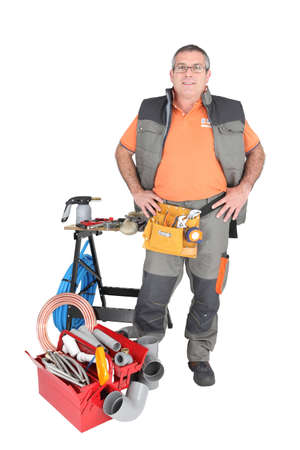 man 40 50: Man at workbench with tools