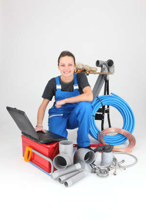 portrait of a female plumber photo