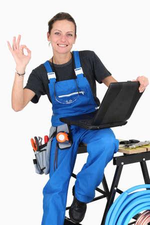 work took: Female plumber giving it the OK