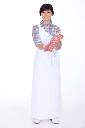 butchered: Woman butcher on white background
