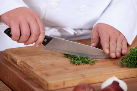 Chopping parsil  photo