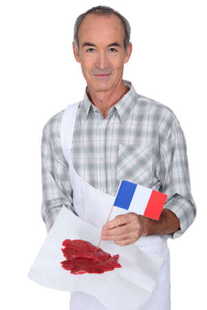 prime adult: Butcher with French steak