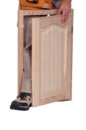 meubelmaker en kastdeur Stockfoto