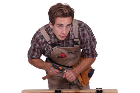 Man with hammer and chisel Stock Photo - 16112966