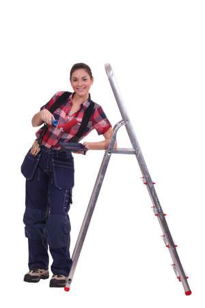 craftswoman: craftswoman painter posing Stock Photo