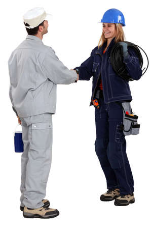 specialization: Workers greeting each other