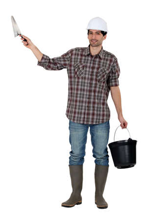 jumpsuit: Builder with a trowel and a bucket