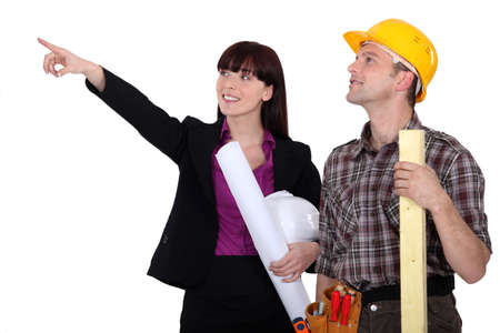 pawn adult: Female architect and builder Stock Photo