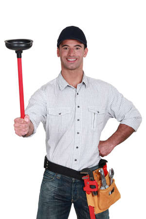 plunger: The handy man Stock Photo