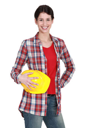 hard look: female construction worker