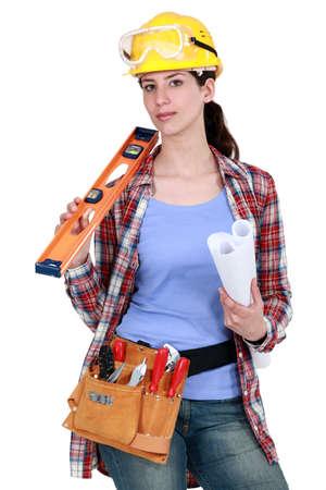 servicewoman: craftswoman posing