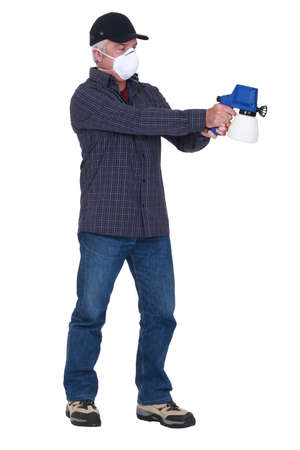 compressed: Man with a pressure sprayer
