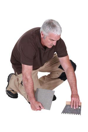 tiler: mature tiler at work