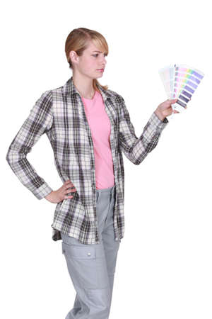 harmonization: Woman undecided color swatch