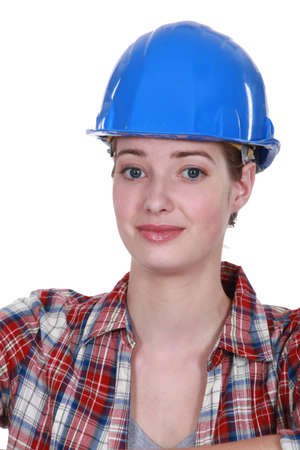 A nervous-looking tradeswoman Stock Photo - 16119700