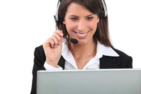 customer care: Woman wearing a headset