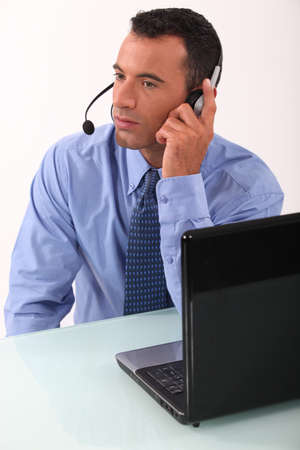 unobtrusive: Executive audio headphones and microphone