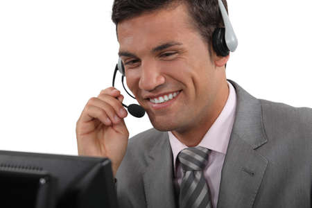 Cheerful call-center worker photo