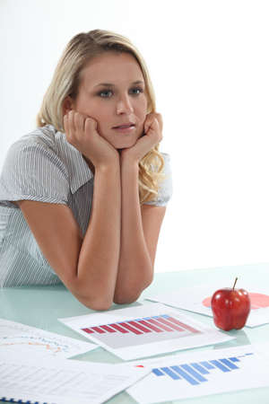 contemplates: Distracted office worker Stock Photo
