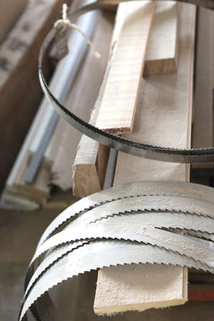 carpenter's sawdust: Collection of band-saw blades Stock Photo