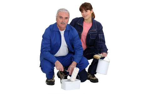 tradespeople: Portrait of a team of painters Stock Photo