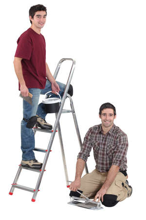 duo of tilers working hand in hand Stock Photo - 16166796
