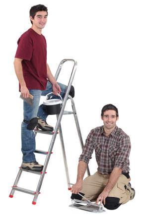 duo of tilers working hand in hand Stock Photo - 16166796