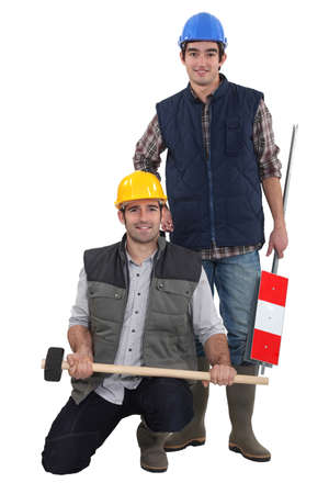 housebuilding: Two manual workers