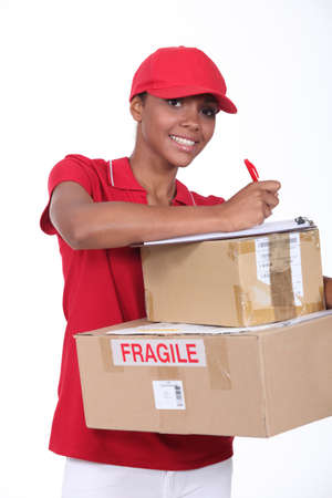 residential tree service: young woman delivering parcels