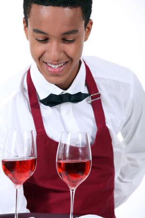 teenage male: Wine waiter Stock Photo