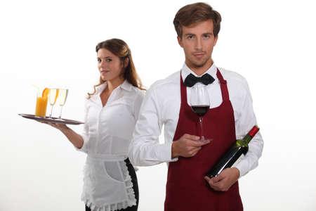 waiter: professional waiter and waitress