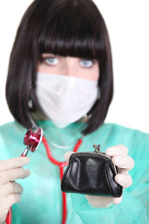 female doctor holding wallet photo