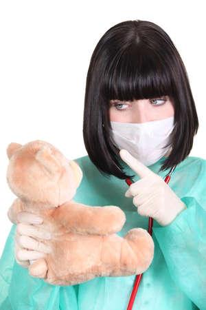 admonish: Surgeon admonishing a teddy bear