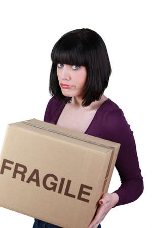 grouchy: Grumpy woman on moving day